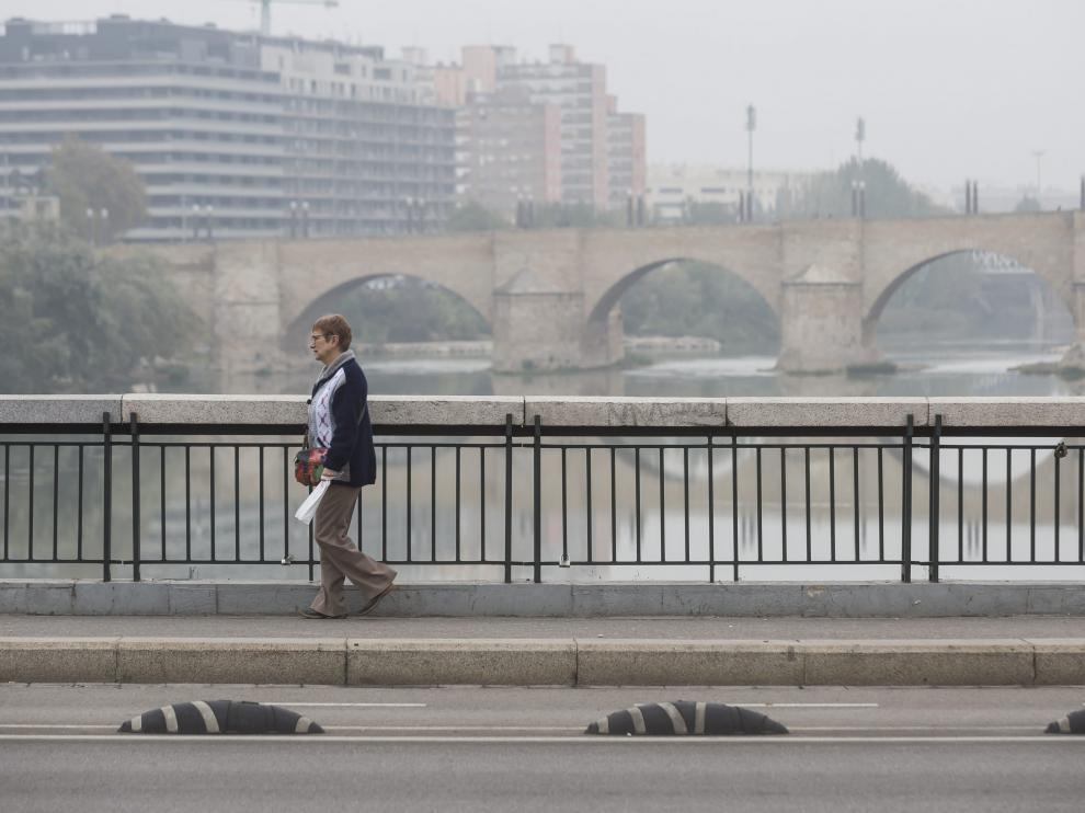 Niebla en Zaragoza.