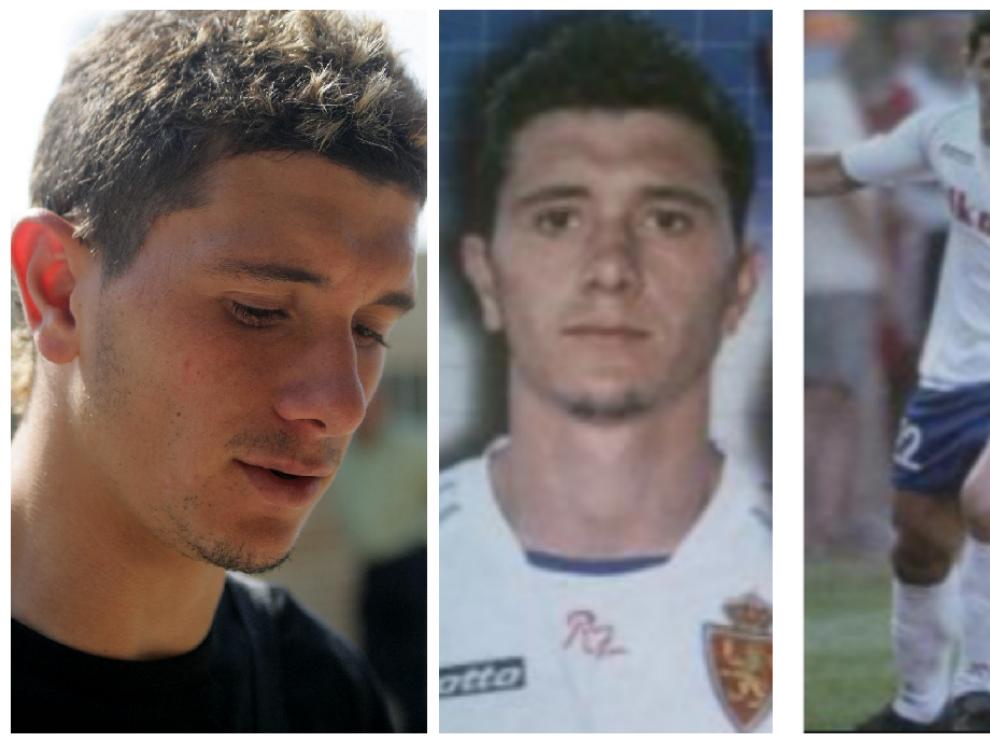Piti, en su época incipiente como jugador del Real Zaragoza B en la Ciudad Deportiva y, en las otras imágenes, con el primer equipo zaragocista.