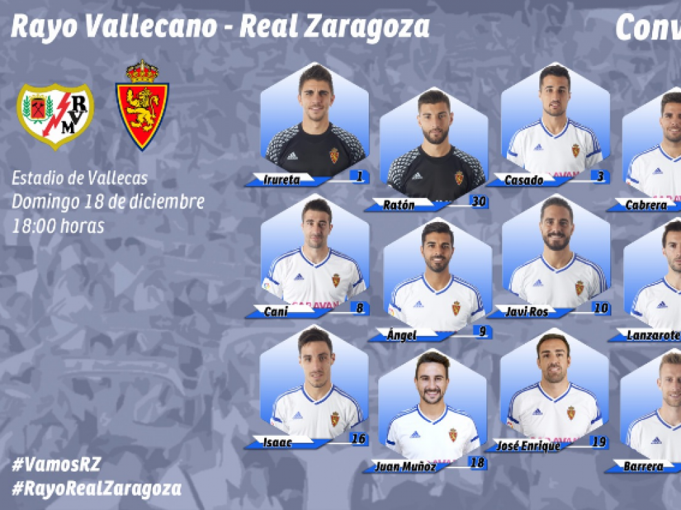Convocatoria del Real Zaragoza, según el formato utilizado por el club en su página web.