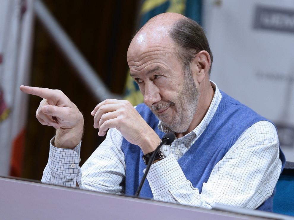 Alfredo Pérez Rubalcaba, este lunes en Valladolid.