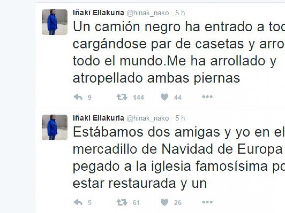 Algunos de los tuits compartidos por el español herido en el atentado