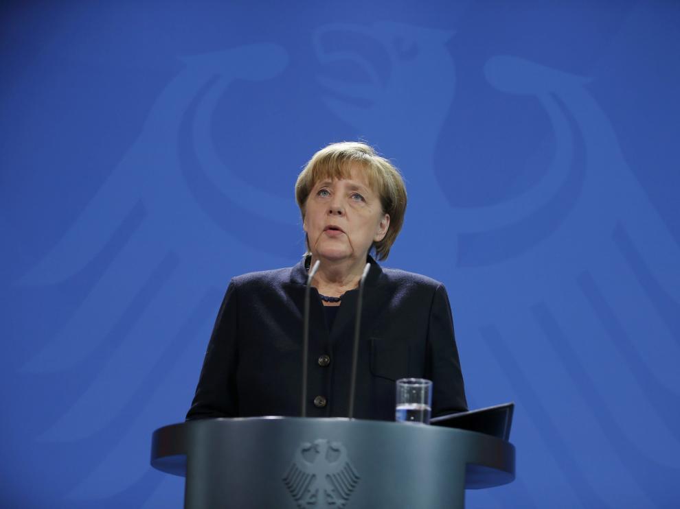La canciller alemana, Angela Merkel, en su declaración ante los medios tras el atentado.
