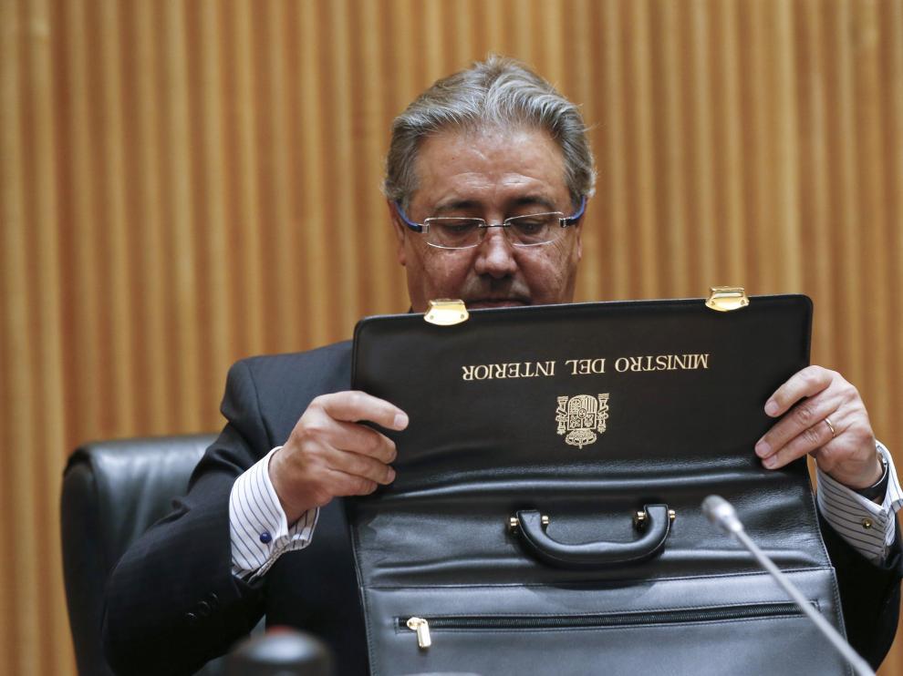 Juan Ignacio Zoido en su intervención en la comisión de Interior del Congreso.