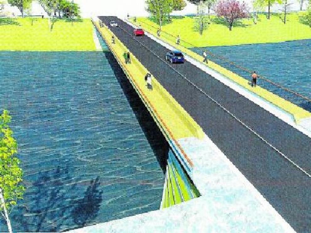 Una primera idea. El Ayuntamiento encargó un primer boceto del paso sobre el río a un estudio de ingeniería. Esta es una de las ideas propuestas, que no la solución definitiva, con espacio para coches y peatones.