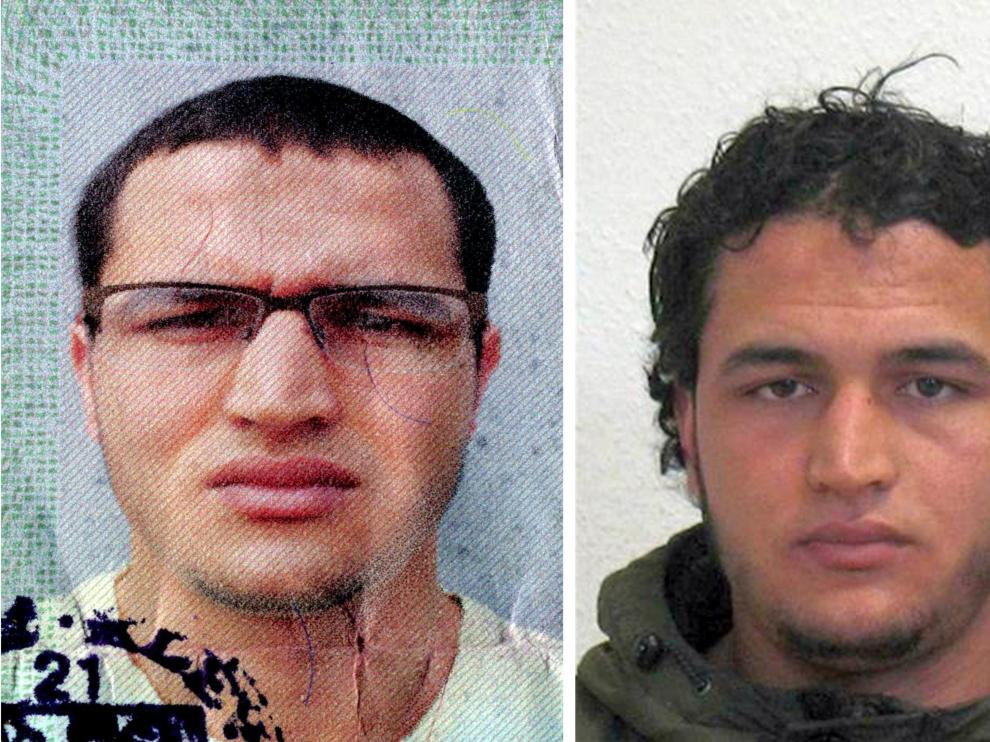 Fotografías facilitadas por la policía del tunecino Anis Amri, buscado por el atentado en Berlín.