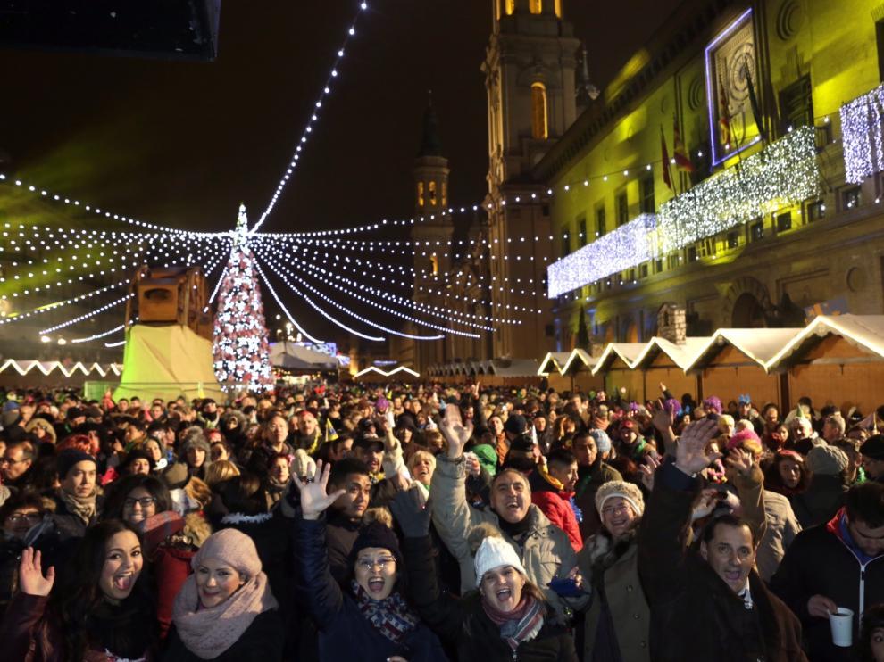 La Nochevieja en la plaza del Pilar en 2016
