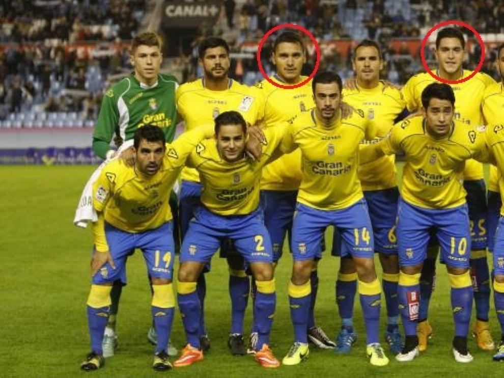 Marcelo Silva y Jesús Valentín, en uno de los cuatro partidos en los que coincidieron en la UD Las Palmas.