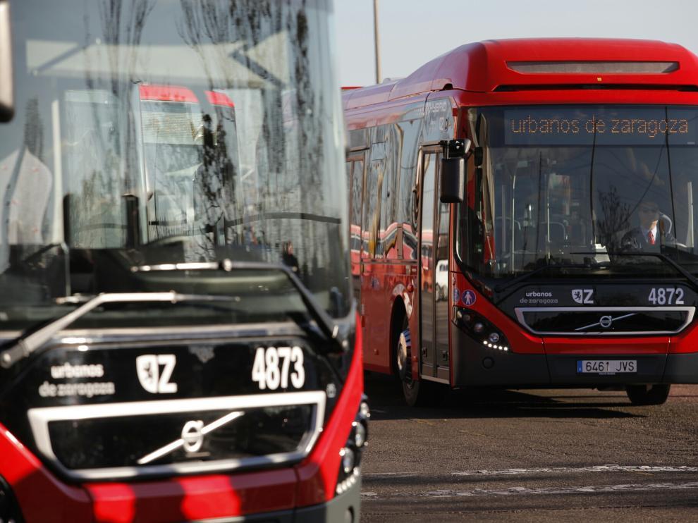 Una remesa anterior de autobuses híbridos para Zaragoza.