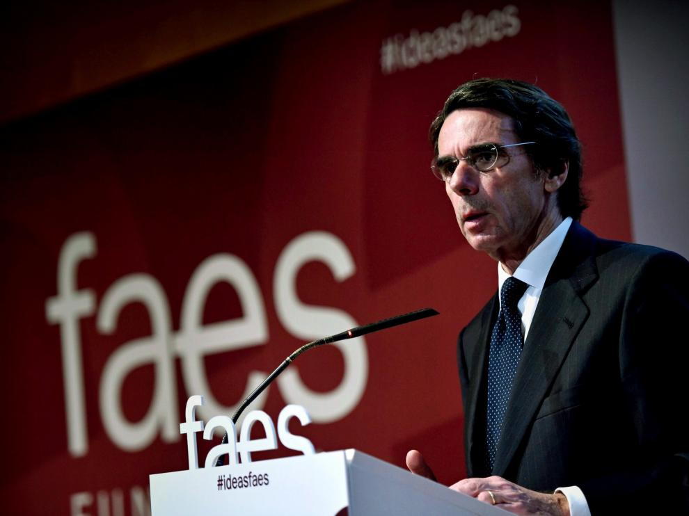 """José María Aznar en el acto de clausura de """"Ideas para la sociedad española"""", en la Fundación FAES"""