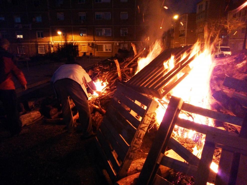Hoguera de San Antón del año pasado, en Torrero