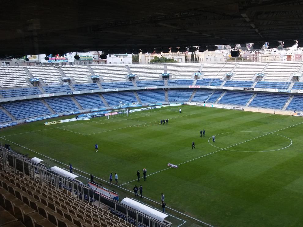 Estado del Heliodoro Rodríguez López una hora antes del Tenerife-Real Zaragoza.