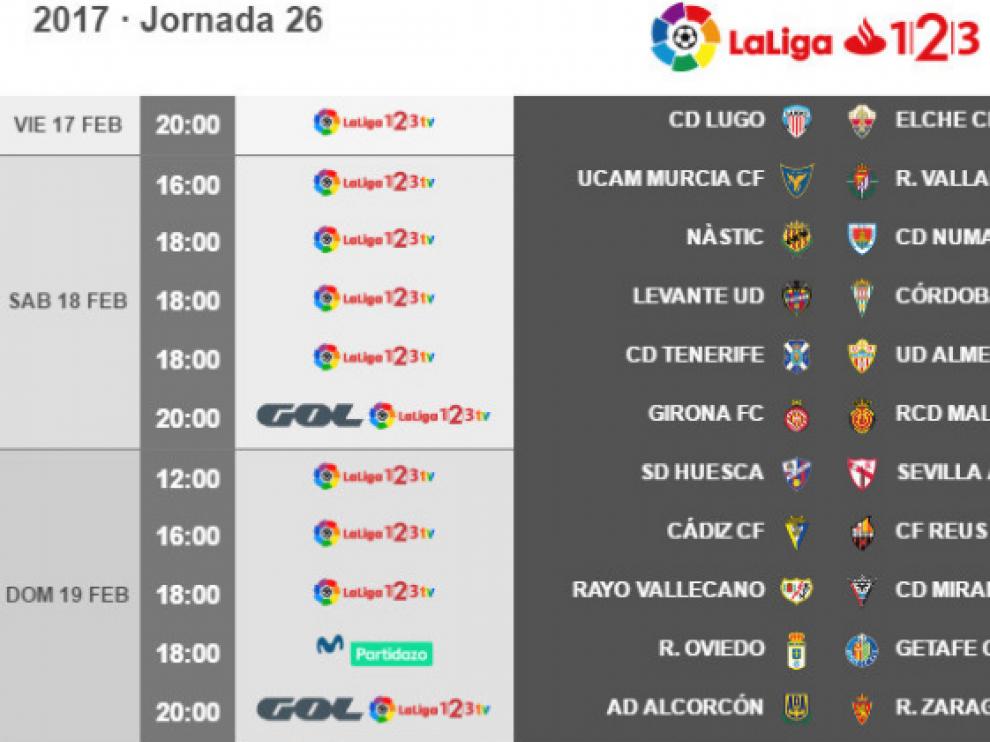 Horarios y fechas de los partidos de la jornada 26ª de Segunda División.