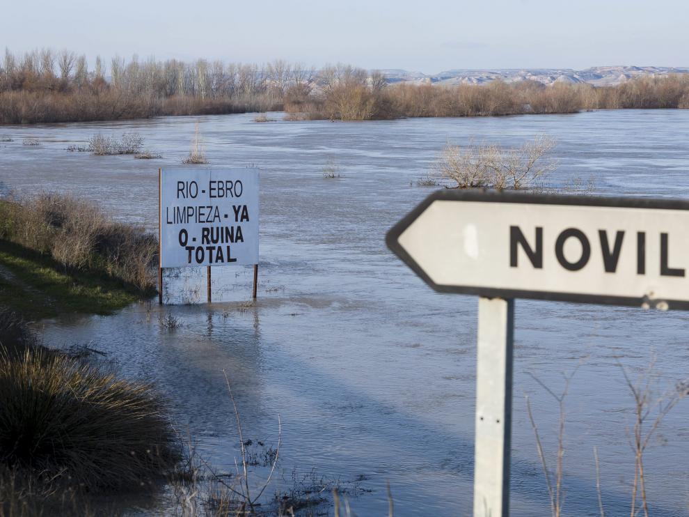 Imagen del río Ebro a su paso por Novillas tomada este miércoles.
