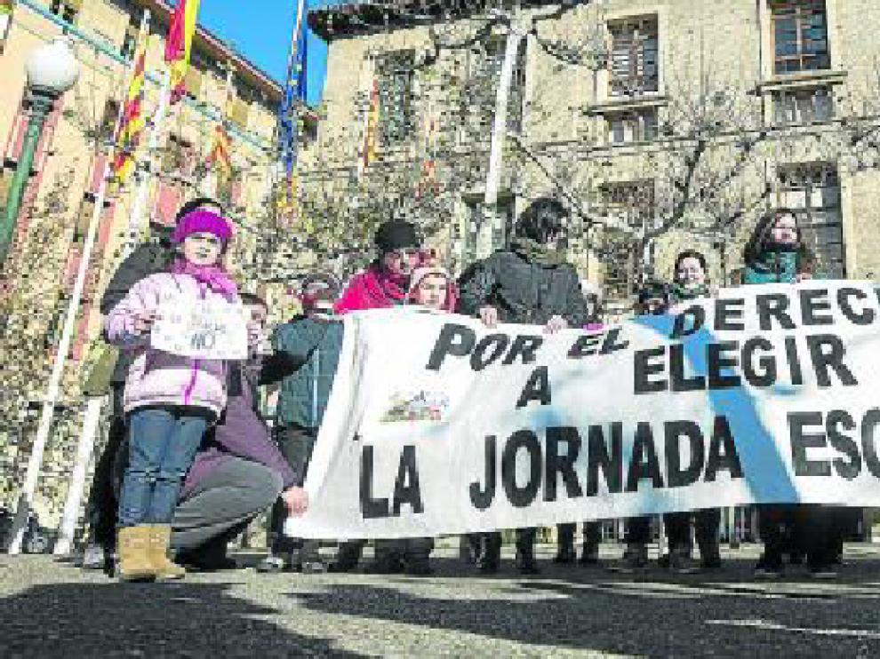 La jornada lectiva continua se reivindica desde hace años, como en esta protesta de 2014.