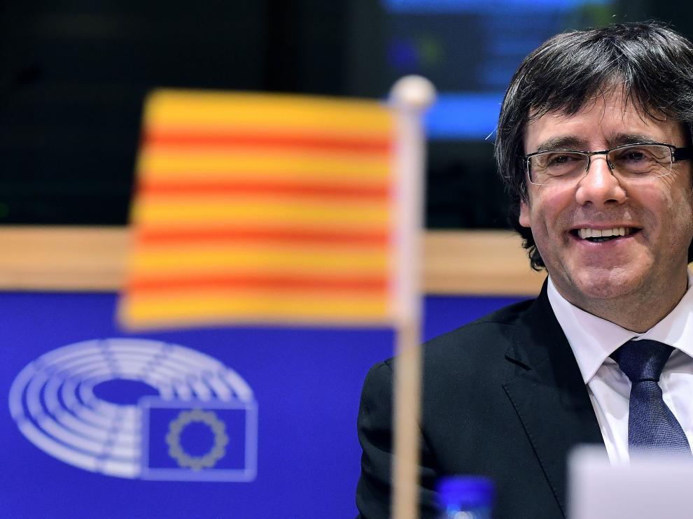 El presidente de la Generalitat de Cataluña, Carles Puigdemont, este martes en Bruselas.