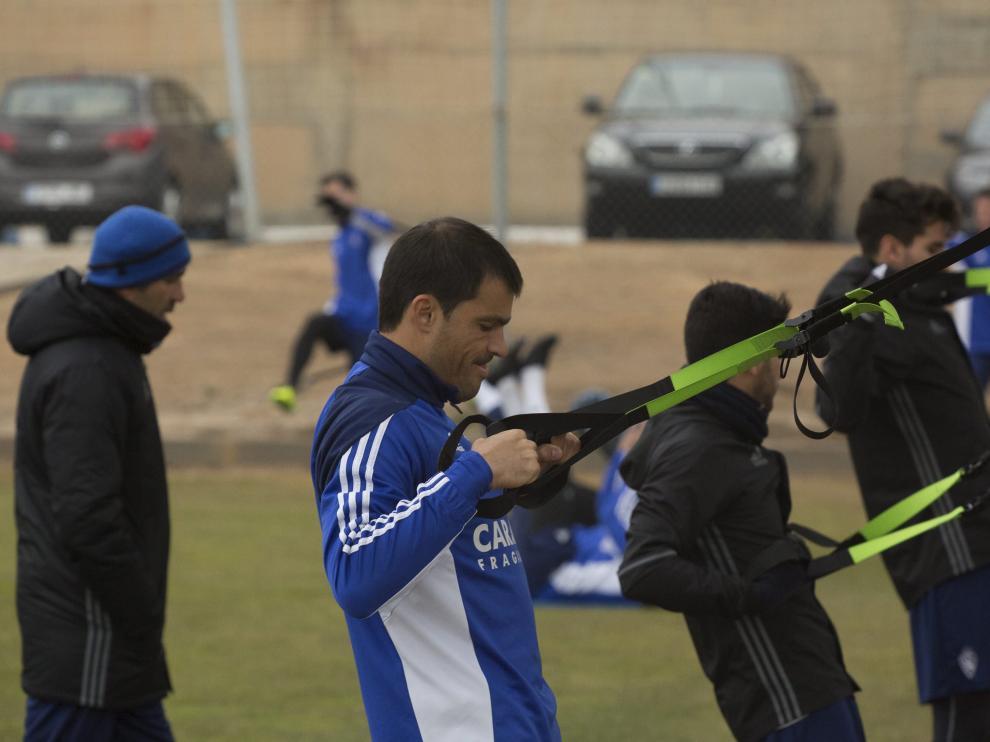Sebastián Saja, ayer en el entrenamiento del Real Zaragoza.
