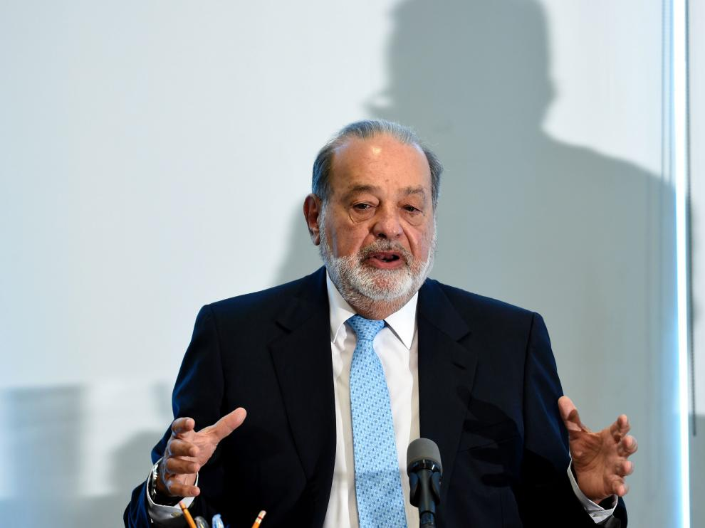 Carlos Slim en la rueda de prensa de este viernes.