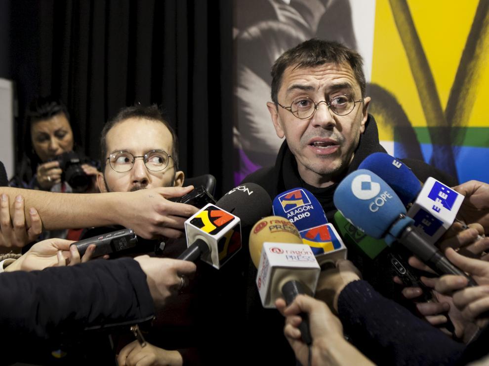 Juan Carlos Monedero y Pablo Echenique en la presentación de la iniciativa 'Podemos para Todas'.