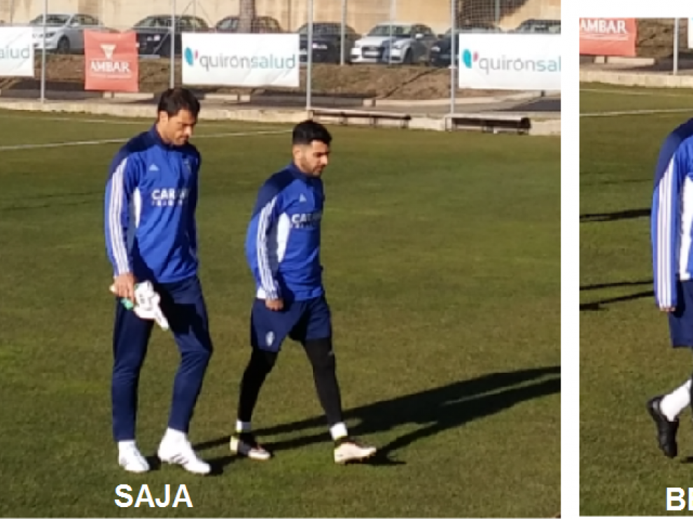 Saja, en la imagen de la izquierda, junto a Ángel; Edu Bedia, a la derecha, charla con Bagnack. Son imágenes del entrenamiento de este sábado en la Ciudad Deportiva. Ambos serán los dos debutantes este domingo ante el Lugo.