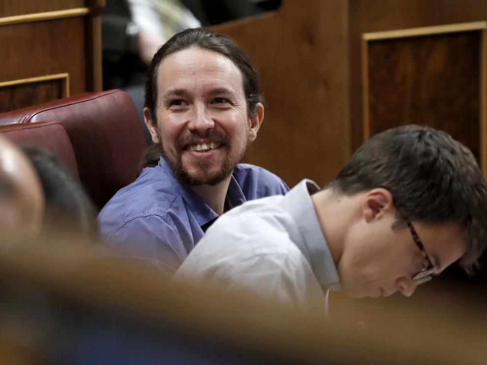 Foto de archivo de Pablo Iglesias junto a Íñigo Errejón en el Congreso de los Diputados.