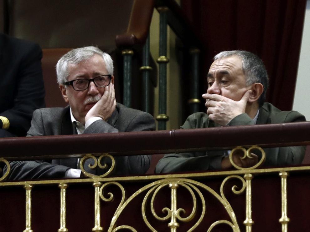 Los secretarios generales de UGT y CC. OO. este jueves en el Congreso.