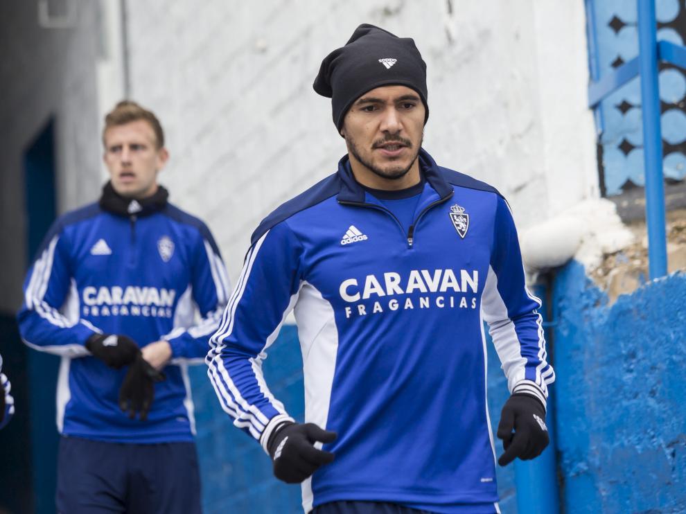 Marcelo Silva, antes de un entrenamiento con el Real Zaragoza.