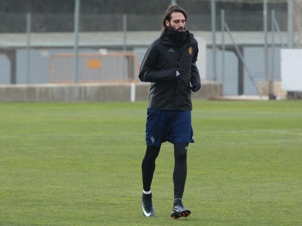 Giorgios Samaras en el entrenamiento de este viernes en la Ciudad Deportiva.