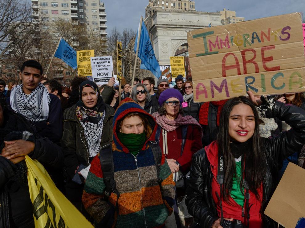 Manifestantes en Nueva York.