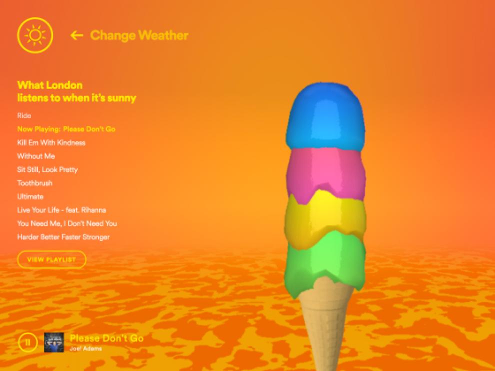 Un ejemplo de Climatune, con las canciones que se escuchan en Londres un día soleado