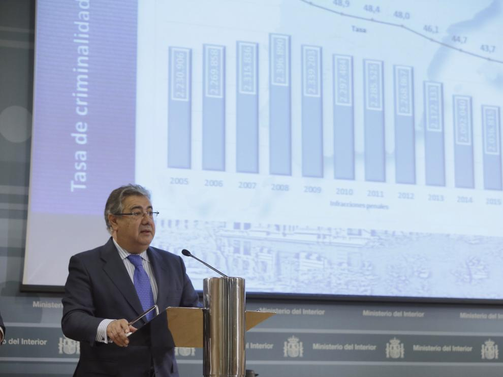 Juan Ignacio Zoido durante la presentación del balance de criminalidad 2016.