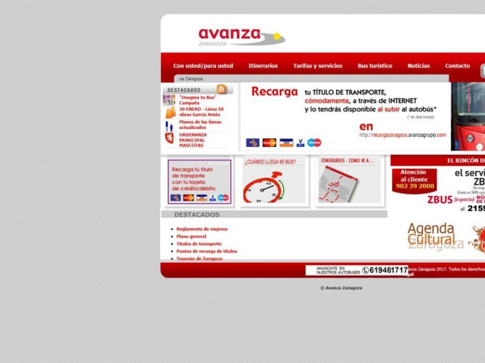 A través de la web de AVANZA se puede acceder al servicio de recarga online