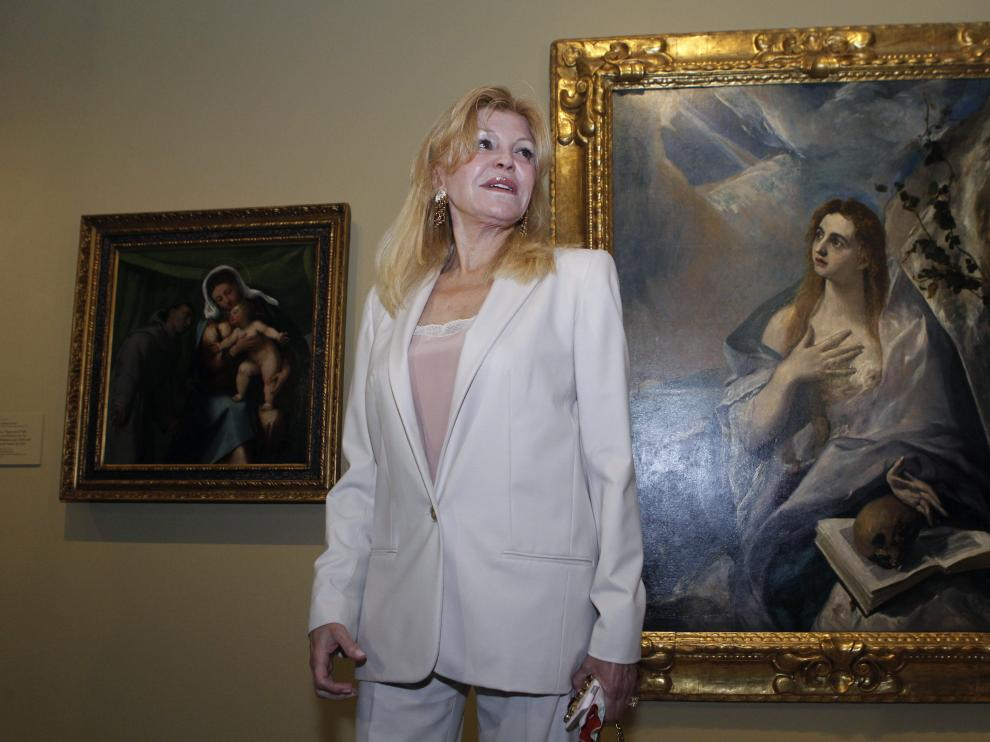 Carmen Thyssen en la presentación de la exposición 'Obras maestras de Budapest. Del Renacimiento a las Vanguardias'.
