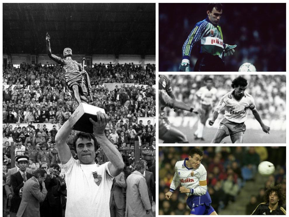 Violeta, Cedrún, Señor, Aguado y Casuco durante sus etapas como futbolistas del Real Zaragoza.