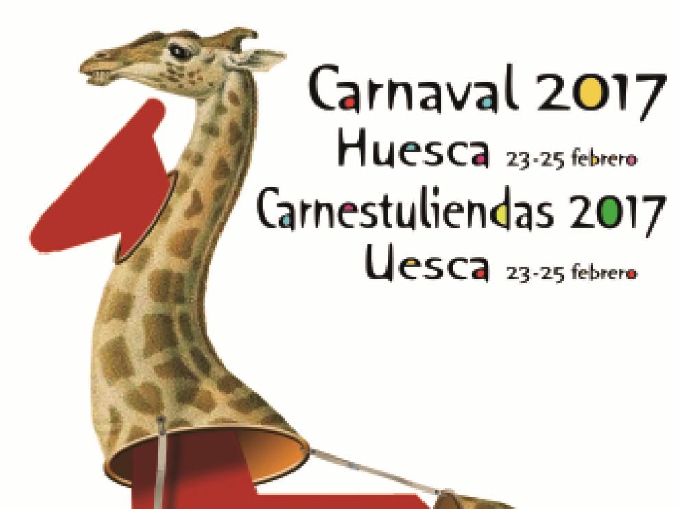 Cartel anunciador del Carnaval de Huesca, titulado 'Metamorfosis en Huesca', obra de Iñaki Fernández.