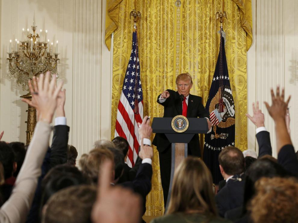Donald Trump en rueda de prensa.
