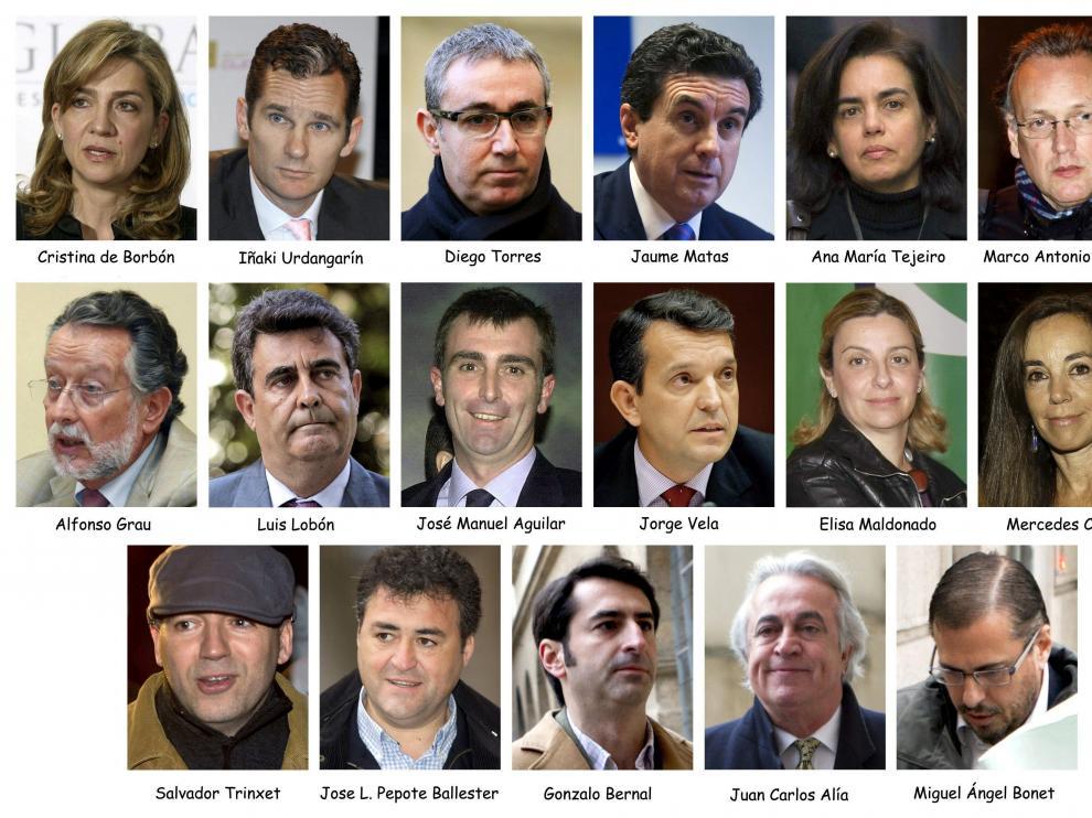 Fotografía de archivo de los 17 acusados en el caso Nóos.   La Audiencia de Palma da a conocer este viernes la sentencia sobre la investigación a Iñaki Urdangarín, su esposa la infanta Cristina y otras 15 personas.