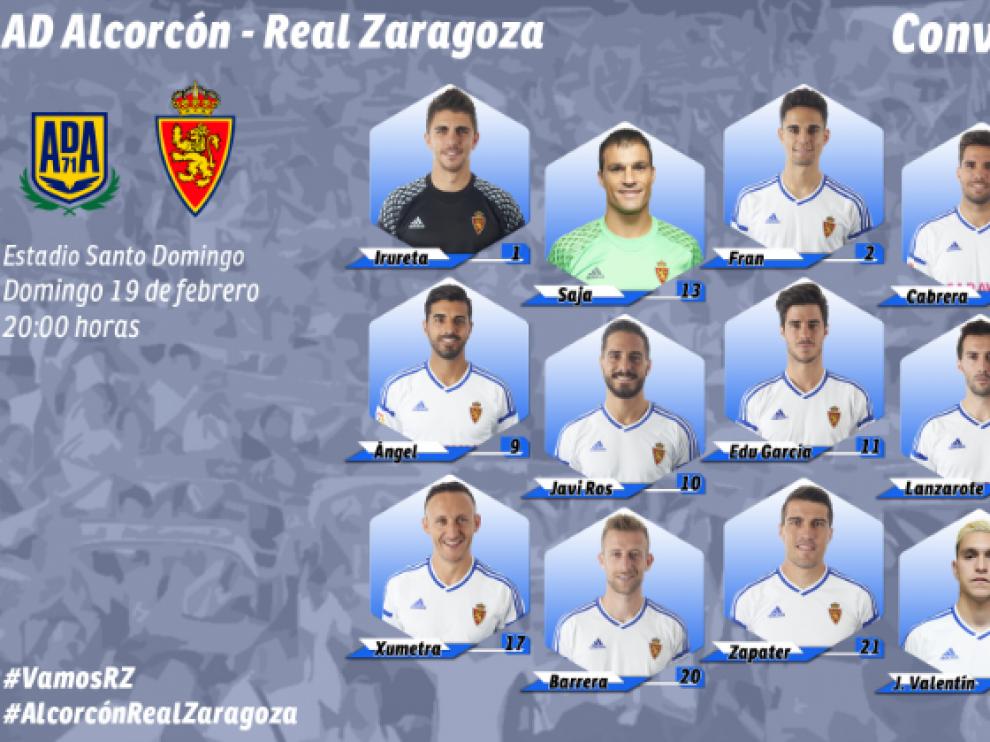 Convocatoria oficial del Real Zaragoza para el viaje a Alcorcón.