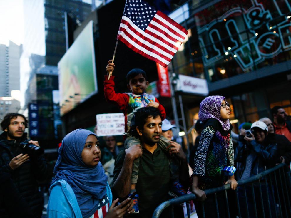 Manifestación de apoyo a los musulmanes en Nueva York