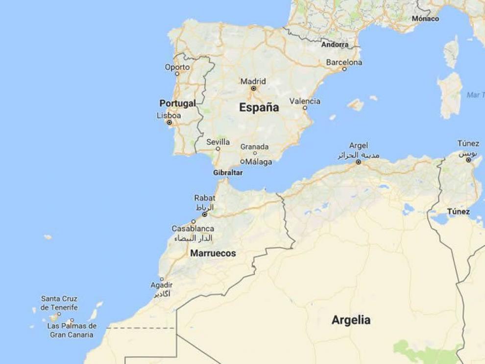 Mapa en el que aparece Canarias en su ubicación correcta.