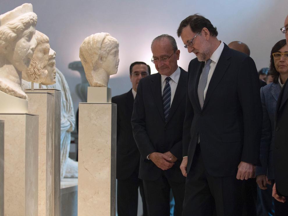 Rajoy y Hollande en el Museo de Málaga.
