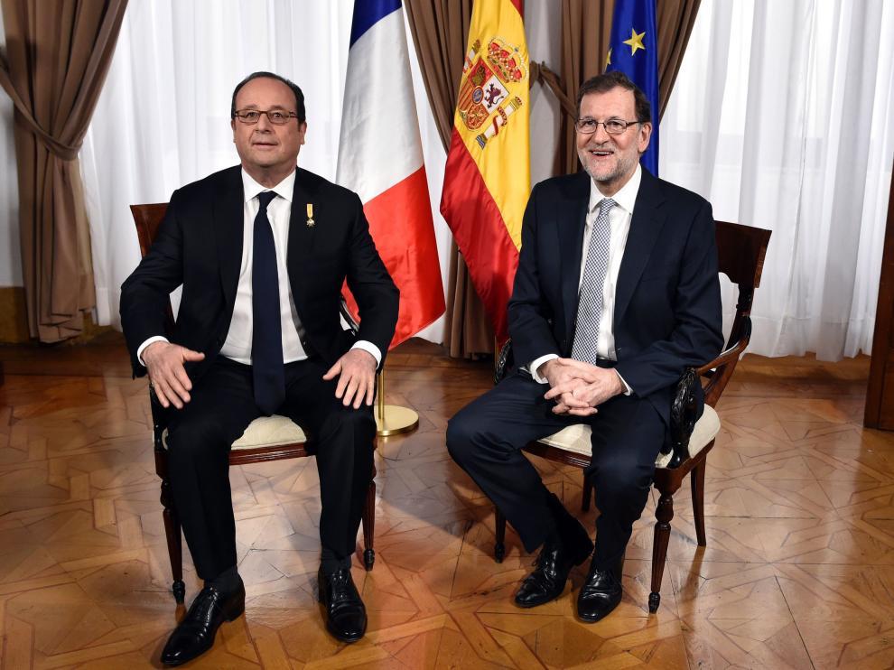 Mariano Rajoy y François Hollande en la reunión de este lunes.