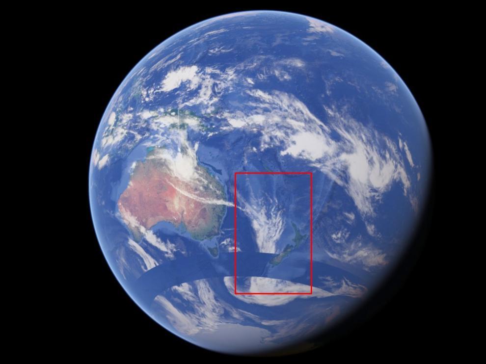 Lugar aproximado donde se ubicaría Zelandia.