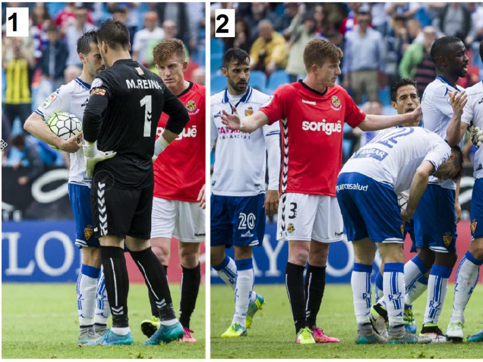 Dos momentos del lío que provocó Manolo Reina en el partido de la pasada liga en La Romareda entre el Real Zaragoza y el Nástic de Tarragona. En la primera imagen, encarándose frente a frente con Lanzarote cuando éste iba a lanzar el penalti. En la segunda, empujándose con varios zaragocistas que acudieron al ver que se estaba pisoteando el punto de penalti por parte de los jugadores del Nástic.