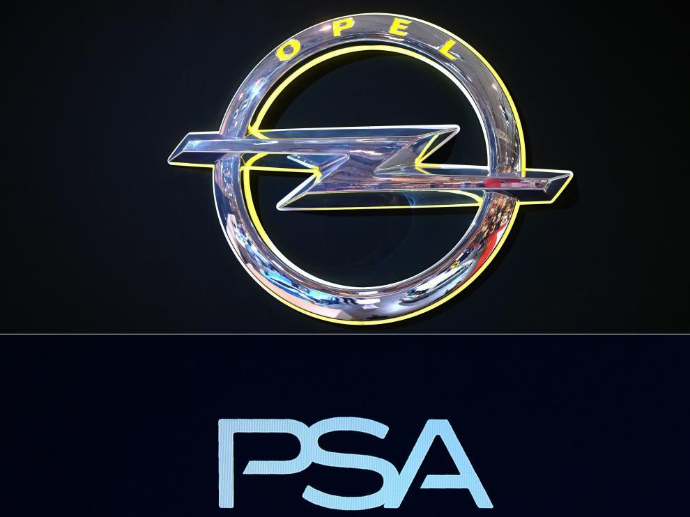 Logos de Opel y PSA.