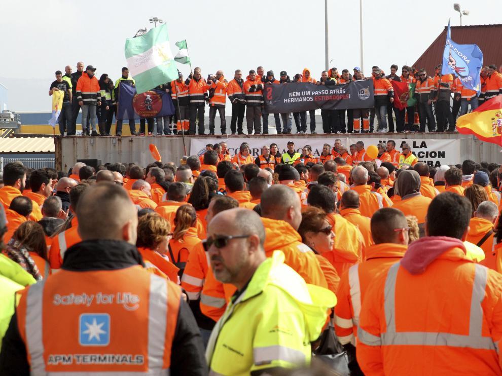 Protesta de estibadores andaluces
