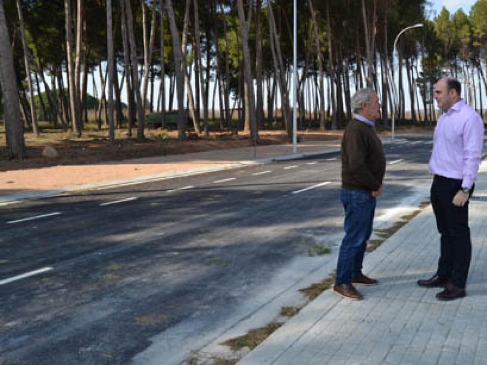 Obras en el vial de Puigmoreno (Alcañiz, Teruel).