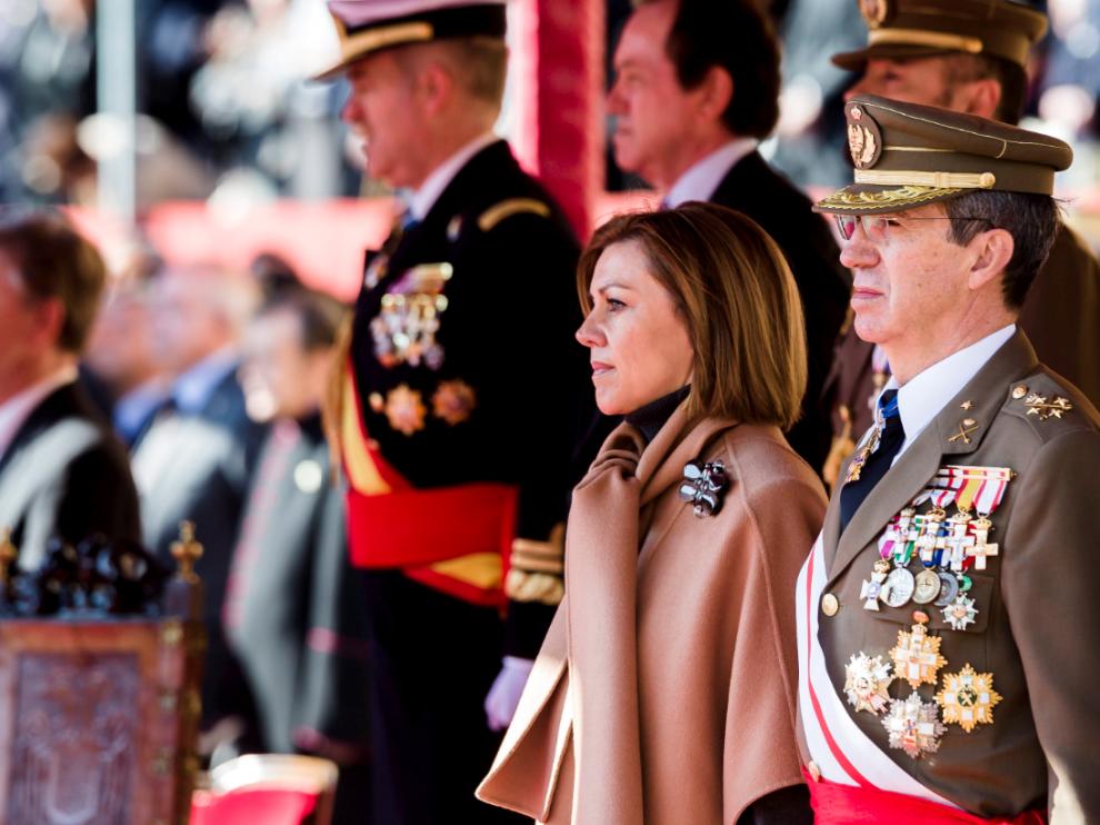 María Dolores de Cospedal, este lunes en la Academia General Militar, en Zaragoza.