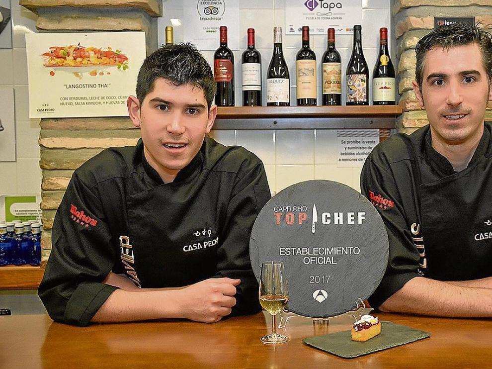 Los hermanos Javier y Luis Antonio Armingol, con la tapa de 'Top Chef'.