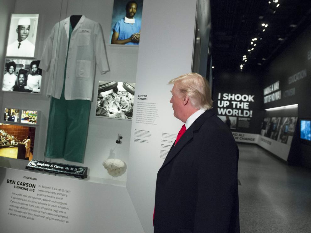 El presidente estadounidense Donald Trump, durante su visita al Museo de Historia y Cultura Afroamericana.