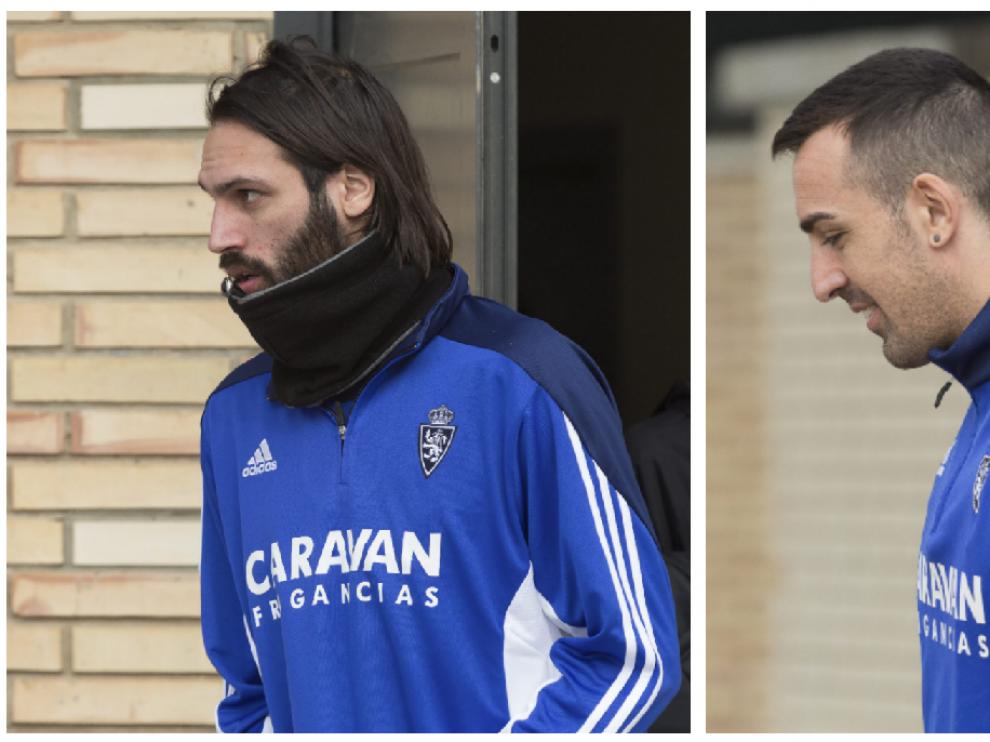 Samaras y José Enrique, a la salida de la proyección del vídeo antes de un entrenamiento de la pasada semana en la Ciudad Deportiva.